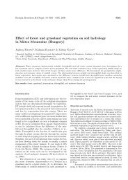 Effect of forest and grassland vegetation on soil hydrology in Mátra ...
