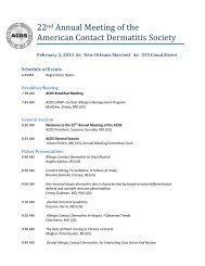 22nd Annual Meeting of the American Contact Dermatitis Society