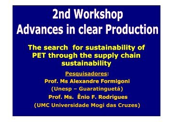 The search for sustainability of PET through the supply chain t i bilit ...