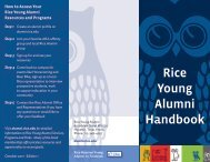Rice Young Alumni Handbook - Association of Rice Alumni - Rice ...