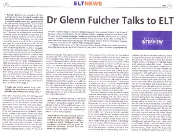 Dr Glenn Fulcher Talks to ELT - Language Testing Resources Website