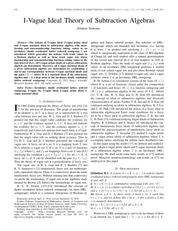 I-Vague Ideal Theory of Subtraction Algebras - Yang's Scientific ...