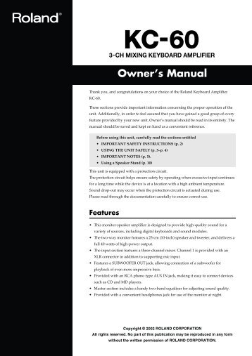 Roland KC-60 Owners Manual - Sweetwater.com