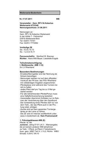 17.07.2011 WB Veranstalter : Gem. RFV St.Hubertus Weilerswist ...