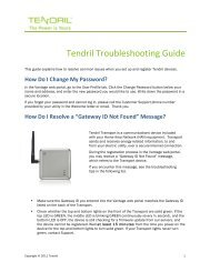Tendril Troubleshooting Guide - NStar