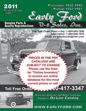 Toll Free Order Line: 1-800-417-3347 - Early Ford V8 Sales