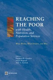 Reaching the poor with health, nutrition, and population services