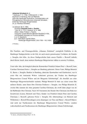 Johannes Schuback - Verband der Familie v. Restorff