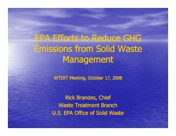 EPA Efforts to Reduce GHG Emissions from Solid Waste Management