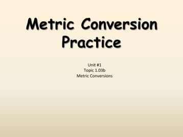 how to solve metric conversion problems