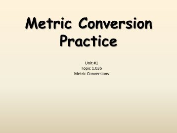 Metric conversion problems