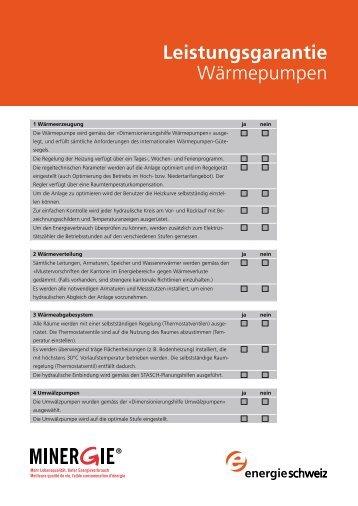 Leistungsgarantie Wärmepumpen - Suissetec