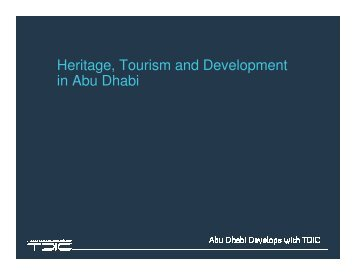 Heritage, Tourism and Development in Abu Dhabi