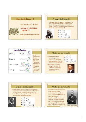 História da Física - 3 A teoria de Maxwell O éter e o movimento O ...