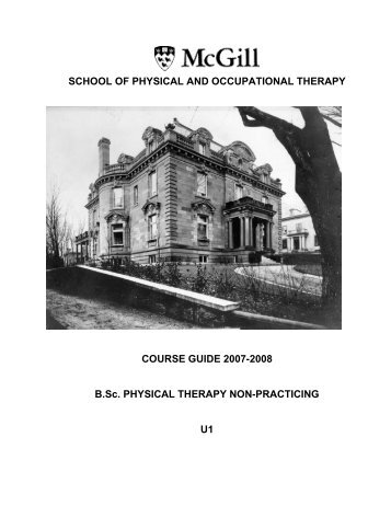 SCHOOL OF PHYSICAL AND OCCUPATIONAL ... - McGill University