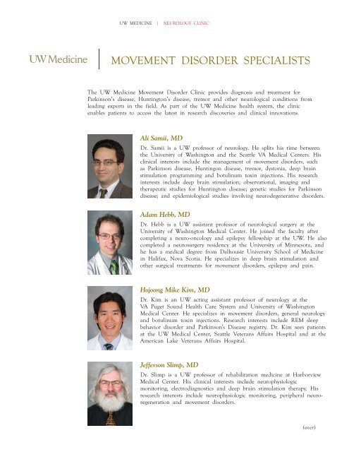 MoveMent DisorDer specialists - UW Medicine