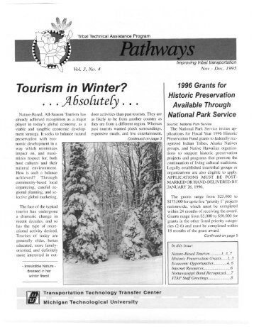 Tourism in Winter? - Michigan Tech Tribal Technical Assistance ...
