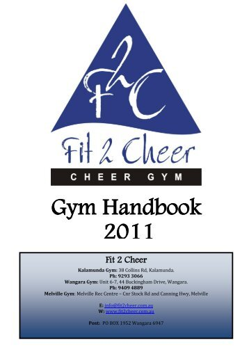 F2C Gym Handbook 2011 - Fit  2 Cheer
