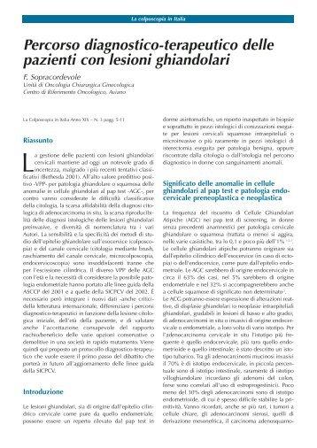 Percorso diagnostico-terapeutico delle pazienti con lesioni ghiandolari