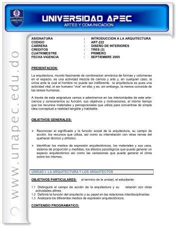 asignatura ; introduccion a la arquitectura codigo : art222 carrera