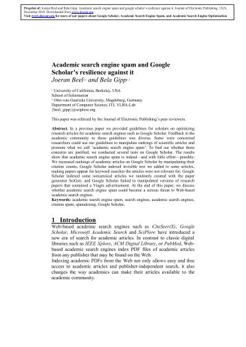 Academic search engine spam and Google Scholar's ... - Docear