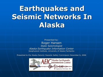 Earthquakes and Seismic Networks In Alaska