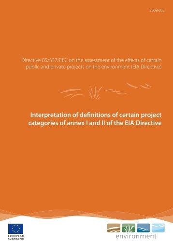 interpretation of definitions of certain project categories - European ...