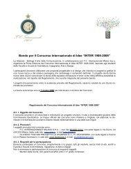 """Bando per il Concorso Internazionale di Idee """"INTER 1908-2008"""""""