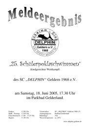 """""""25. Schülerpoklaschwimmen"""" - SC Delphin Geldern"""