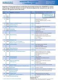 HORIZONT Themenplan 1. Halbjahr 2009 - Isler Annoncen AG