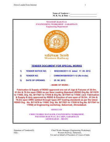Ahmedabad Division Tender Document   - Western Railway