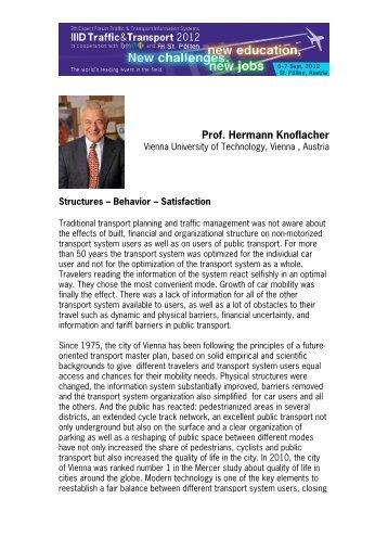 Prof. Hermann Knoflacher - IIID Expert Forum Traffic Guiding Systems