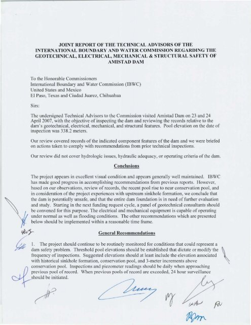 joint report of the technical advisors of the ...