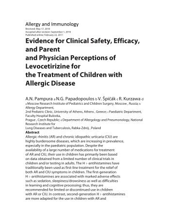 Evidence for Clinical Safety, Efficacy, and Parent and Physician ...