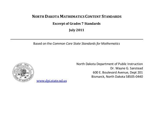 C  ND Mathematics Content Standards, Grade 7 - ND Curriculum