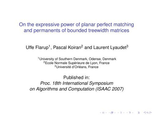 On the expressive power of planar perfect matching and permanents ...
