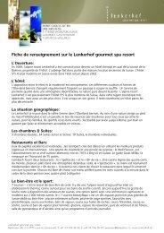 Fiche de renseignement sur le Lenkerhof gourmet spa resort