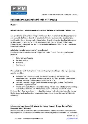 konzept zur hauswirtschaftlichen versorgung - Pflegedokumentation Muster