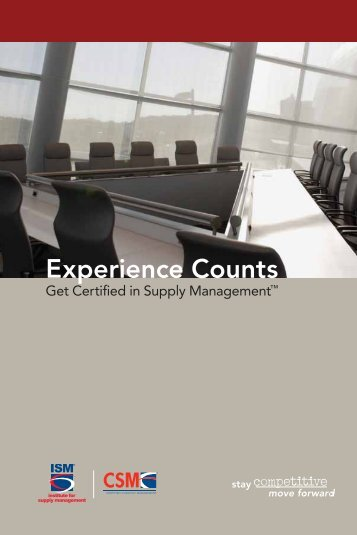 CSM™ Brochure — Experience Counts - Institute for Supply ...