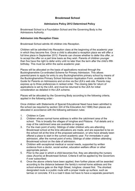 Brookmead School (18 Kb) - Buckinghamshire County Council