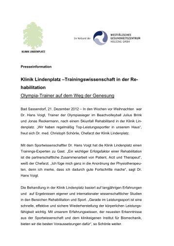 Trainingswissenschaftliche Rehabilitation in der Klinik Lindenplatz