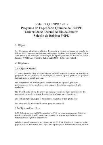Edital PEQ PNPD / 2012 Programa de ... - peq / coppe / ufrj