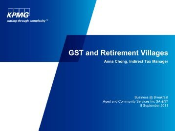 GST and Retirement Villages - Aged & Community Services SA & NT