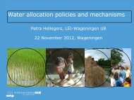 Water allocation policies and mechanisms, by Petra ... - Hydrology.nl
