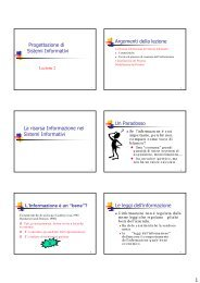 Progettazione di Sistemi Informativi Argomenti della lezione La ...