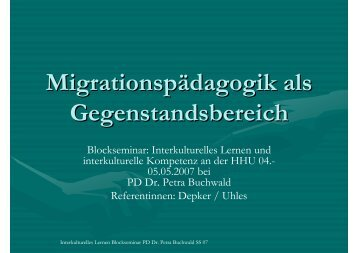Migrationspädagogik als Gegenstandsbereich - Petra-buchwald.de