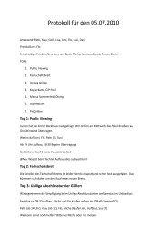 Protokoll für den 05.07.2010 - Institut für Sport und Sportwissenschaft