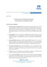 Press Release on the Consolidated Financial ... - Tata Steel India