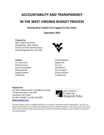 accountability and transparency in the west virginia budget process