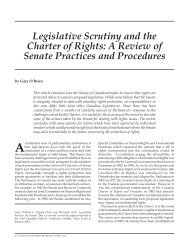 Legislative Scrutiny and the Charter of Rights: A Review of Senate ...